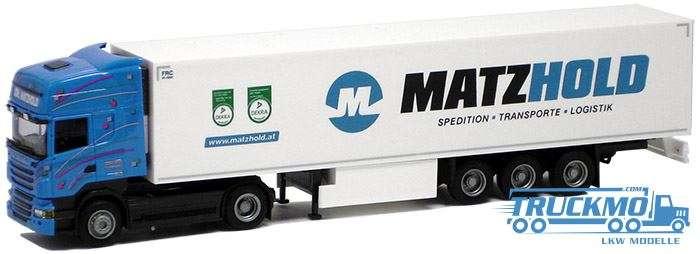 AWM Matzhold LKW Modell Scania R Topline Euro Kühlkoffer Auflieger 74977