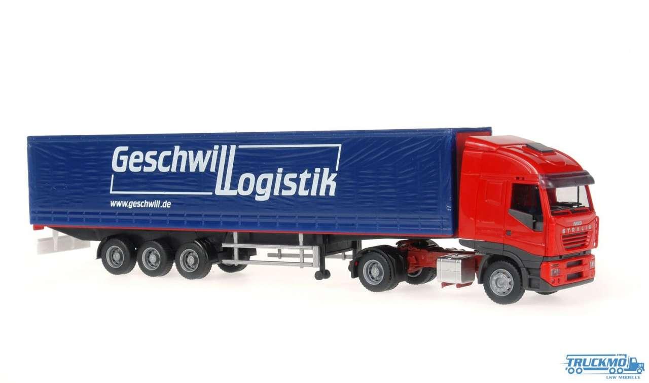Rietze Geschwill Logistik Iveco Stralis Planenauflieger 60852