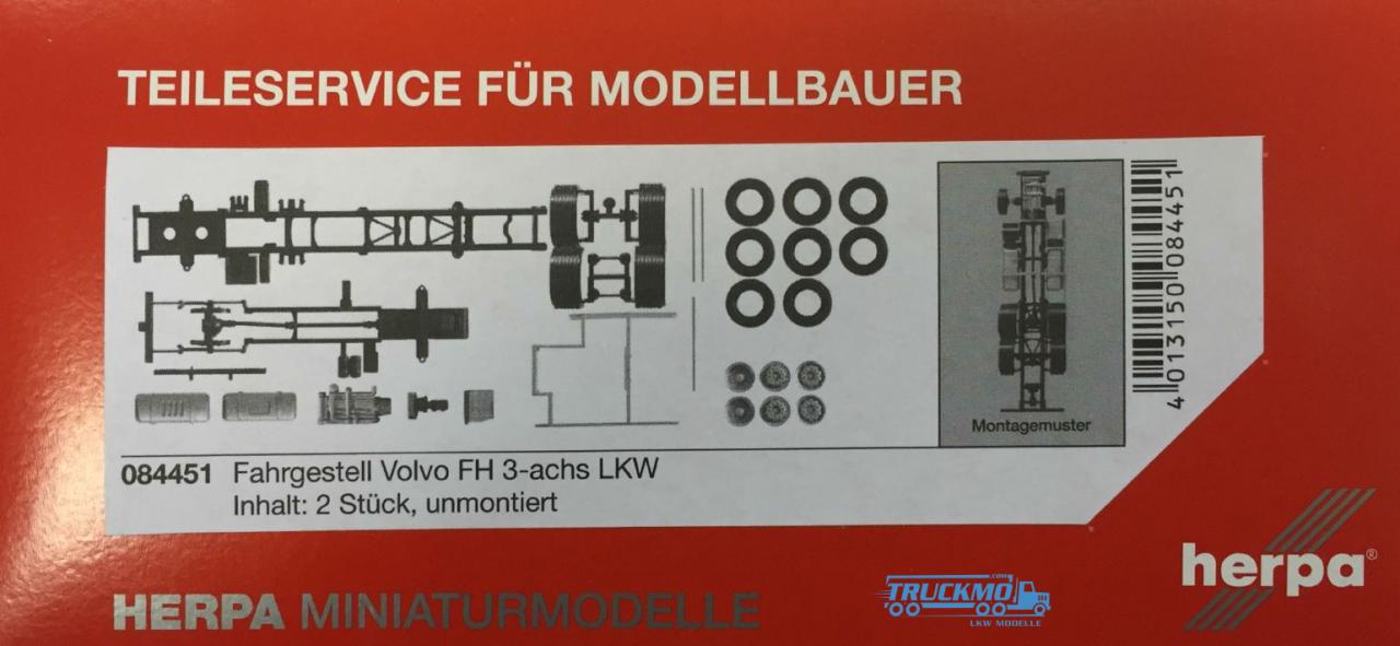 Herpa LKW-Fahrgestell Volvo FH 3-achs Inhalt: 2 Stück 084451