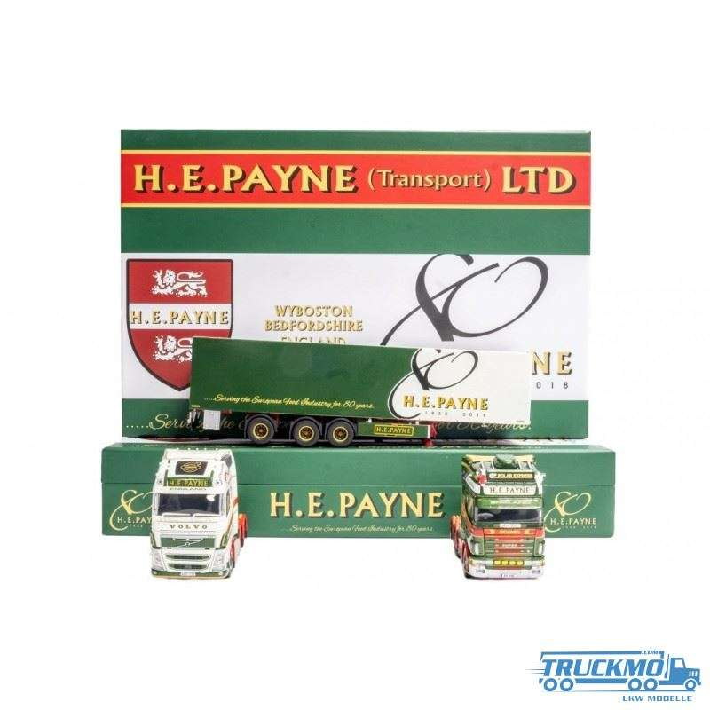 Tekno HE Payne 80th Anniversary Set Scania 4-Series Topline / Volvo FH04 Globetrotter Box Trailer 73