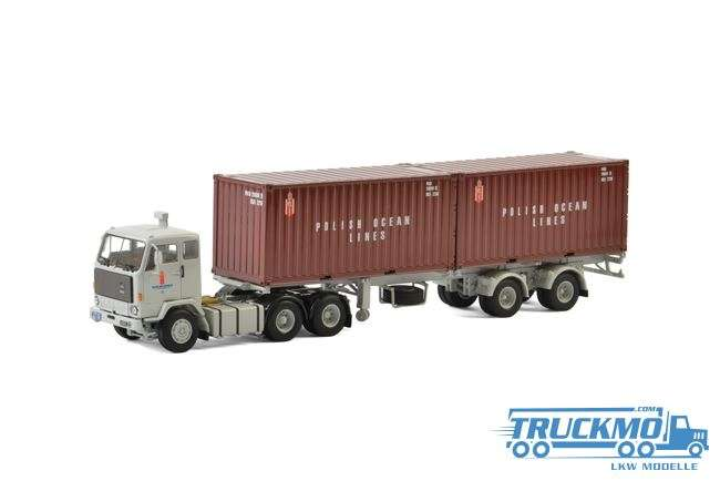 WSI Polish Ocean Lines LKW Modell Volvo F89 Classic Container 3 Achs Trailer und 20 ft Container 01-