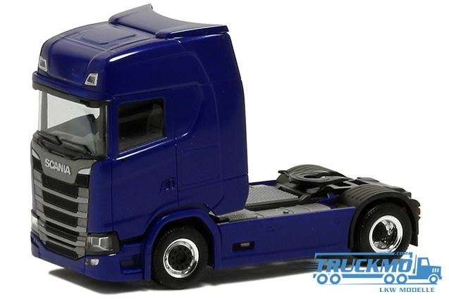 Herpa LKW Modell Scania CS20 HD blue metallic 2 Achs 580434