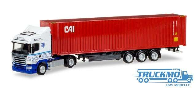 Herpa CAI LKW Modell Scania Highline 45 ft Container Sattelzug 929561