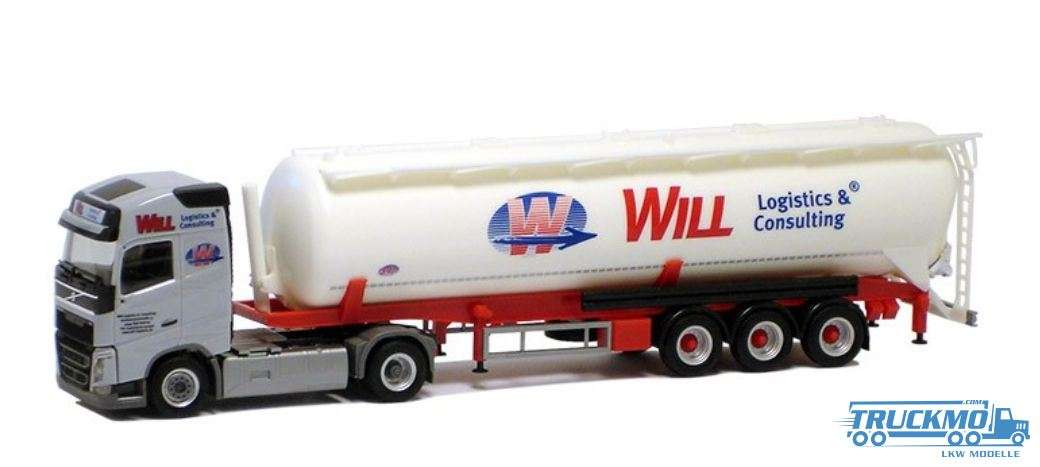 Herpa Will Logistik & Consulting Volvo FH Gl. Silo-Sattelzug LKW Modell