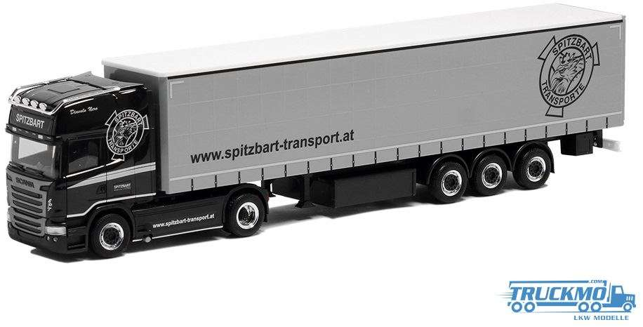 Herpa Spitzbart Scania R13 Topline Gardinenplanen-Sattelzug 932530