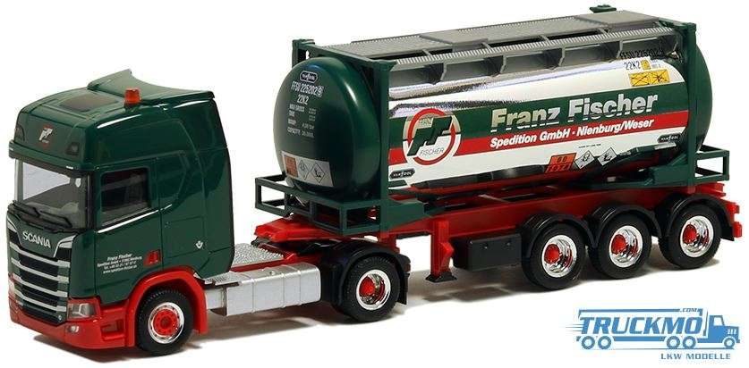 Herpa Fischer Spedition Scania CR20 HD Chromtank Container 5062