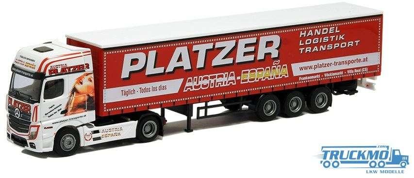 AWM Platzer LKW Modell MB Actros2 Big. Gardinenplanen Sattelzug 54414