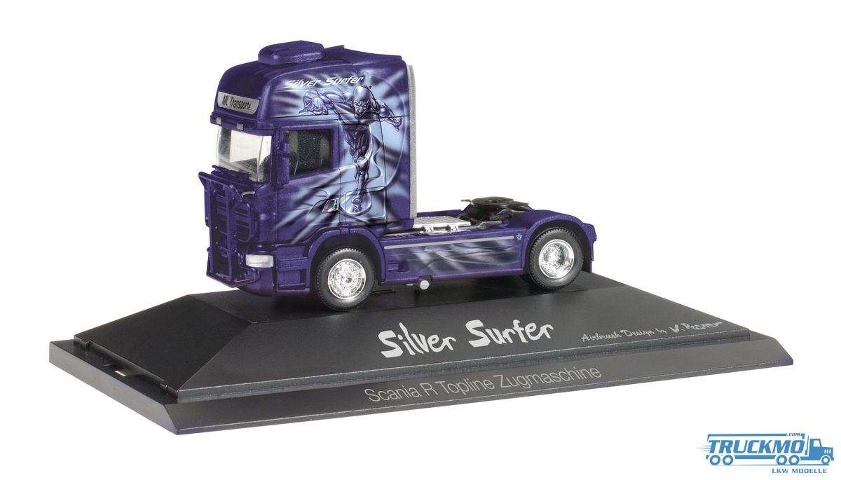 Herpa Silver Surfer / ML Transporte LKW Modell Scania R Zugmaschine 110754
