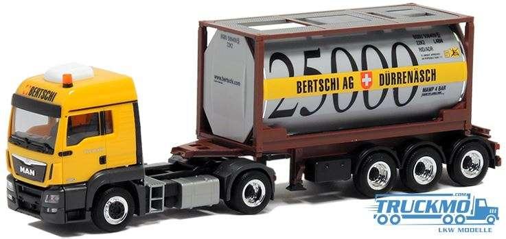 Herpa Bertschi LKW Modell MAN TGS Tankcontainer 20 ft 5016