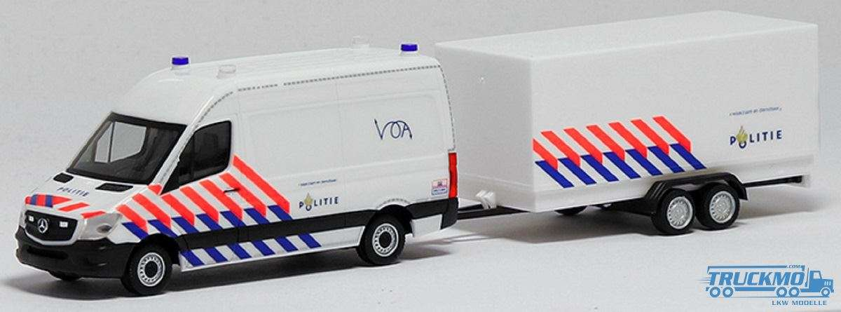 Herpa MB Sprinter 13 Halbbus HD Politie Anhänger 937009