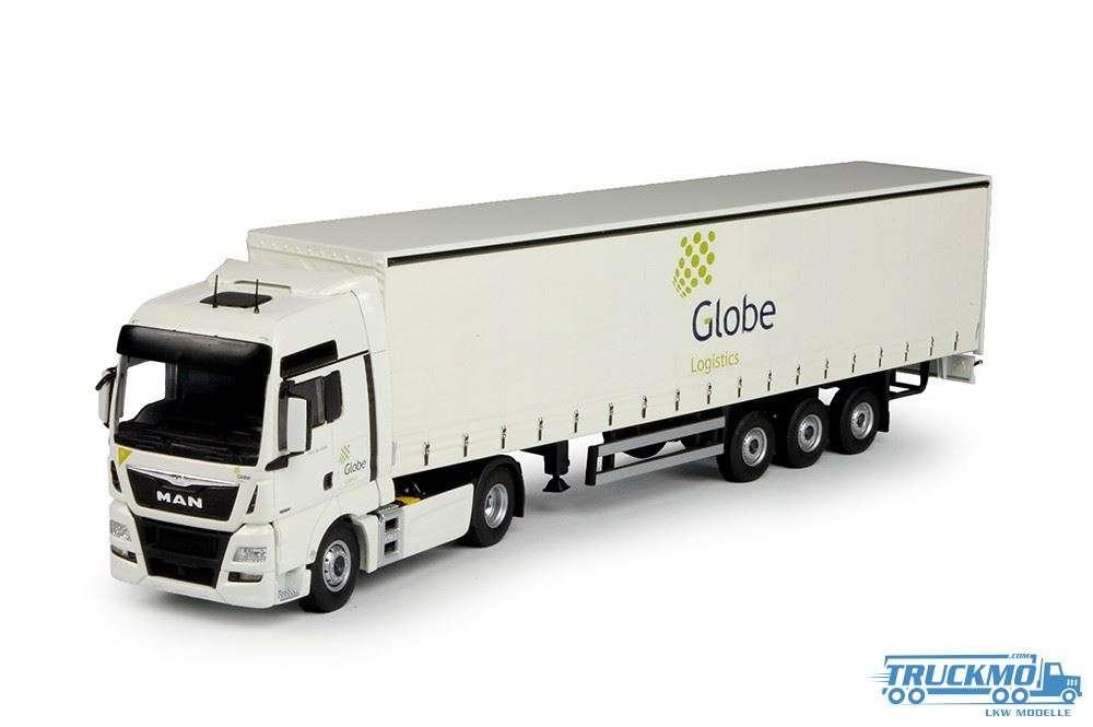 Tekno Globe Logistics LKW-Modell MAN TGX Euro 6 XXL mit Schiebeplanen-Auflieger 69129