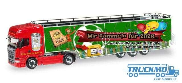 Herpa Karnevalstruck 2016 Scania R Topline mit Promotionauflieger