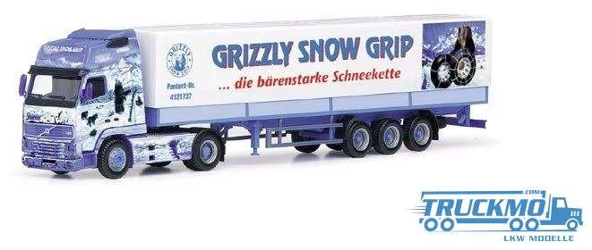 Herpa Grizzly Snow Grip Volvo FH 16 Globetrotter XL Planenauflieger PC-Box 187763