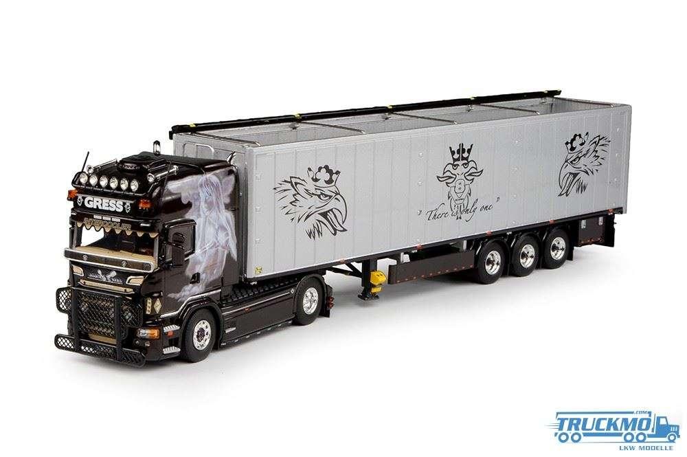 Tekno Helmut Gress Scania R-serie Topline mit Schubbodenauflieger
