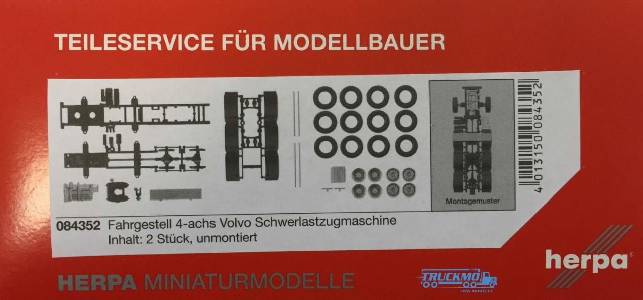 Herpa Fahrgestell 4-achs Volvo Schwerlastzugmaschine Inhalt: 2 Stück