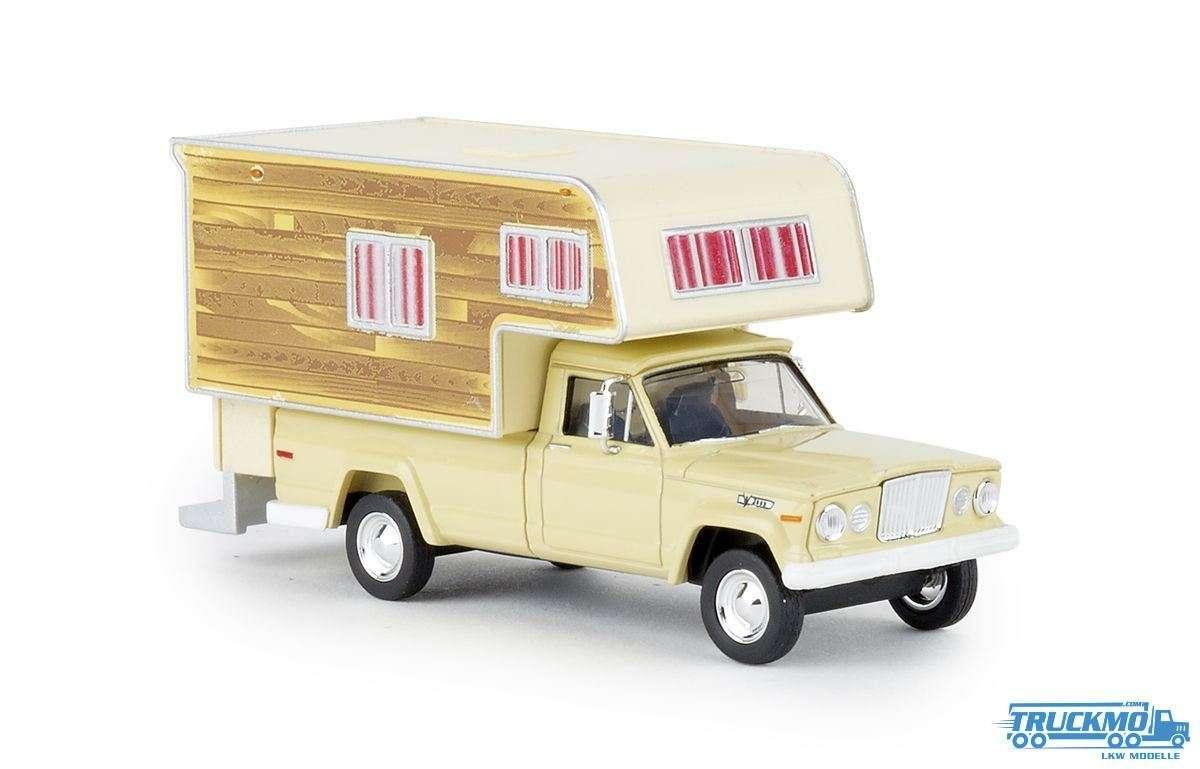 Brekina Woody Jeep Gladiator Camper elfenbein 19834
