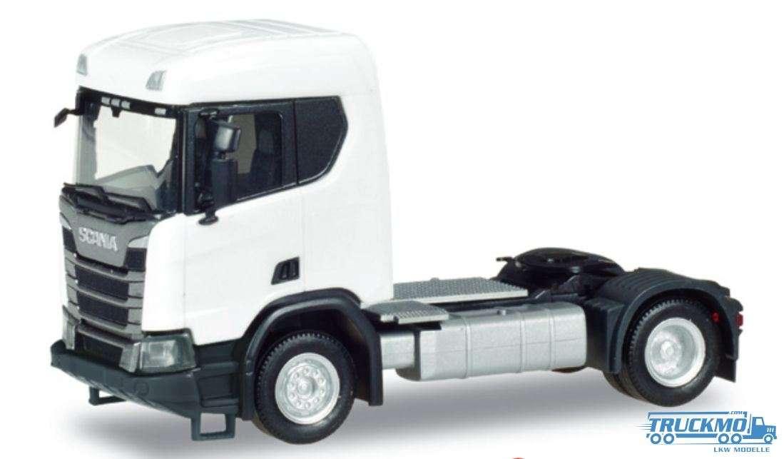 Herpa Scania CR XT ND Bau Zugmaschine 2 Achs weiß 309011