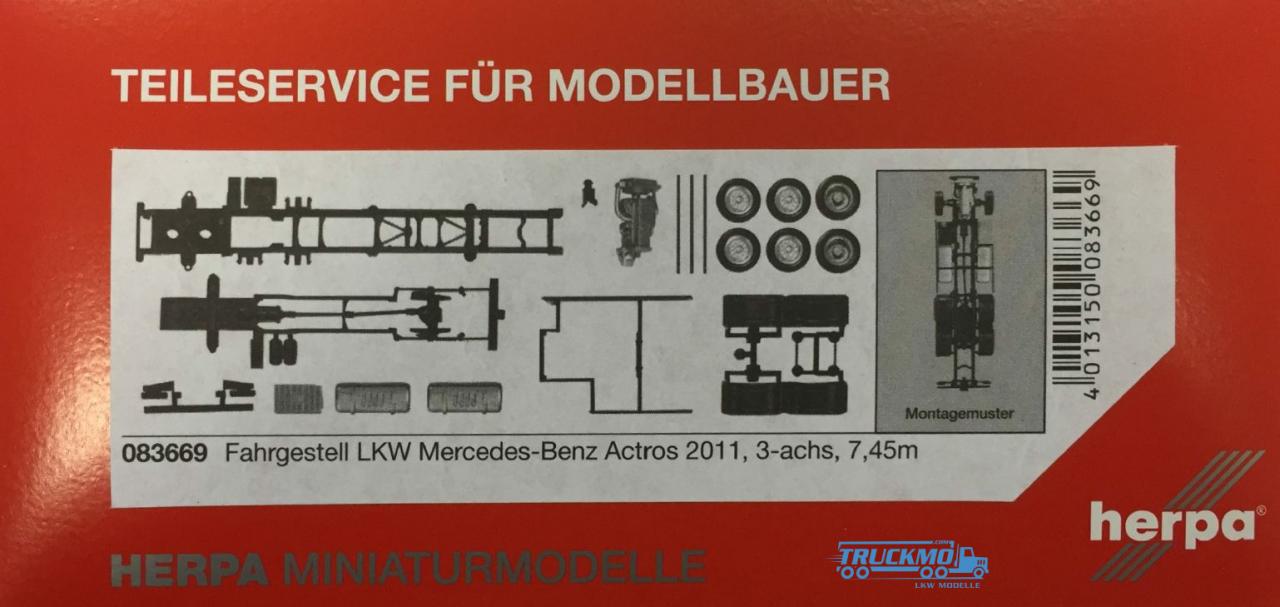 Herpa Mercedes-Benz Actros 2011 LKW-Fahrgestell 3-achs (7,45m) Inhalt: 2 Stück
