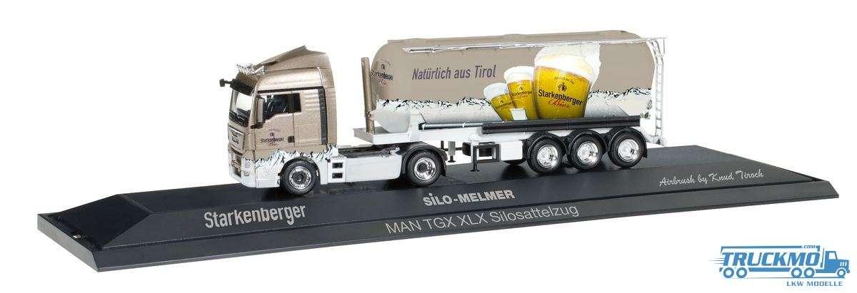 Herpa Silo Melmer / Starkenberger Bier LKW Modell MAN TGX XLX Silo-Sattelzug 121743