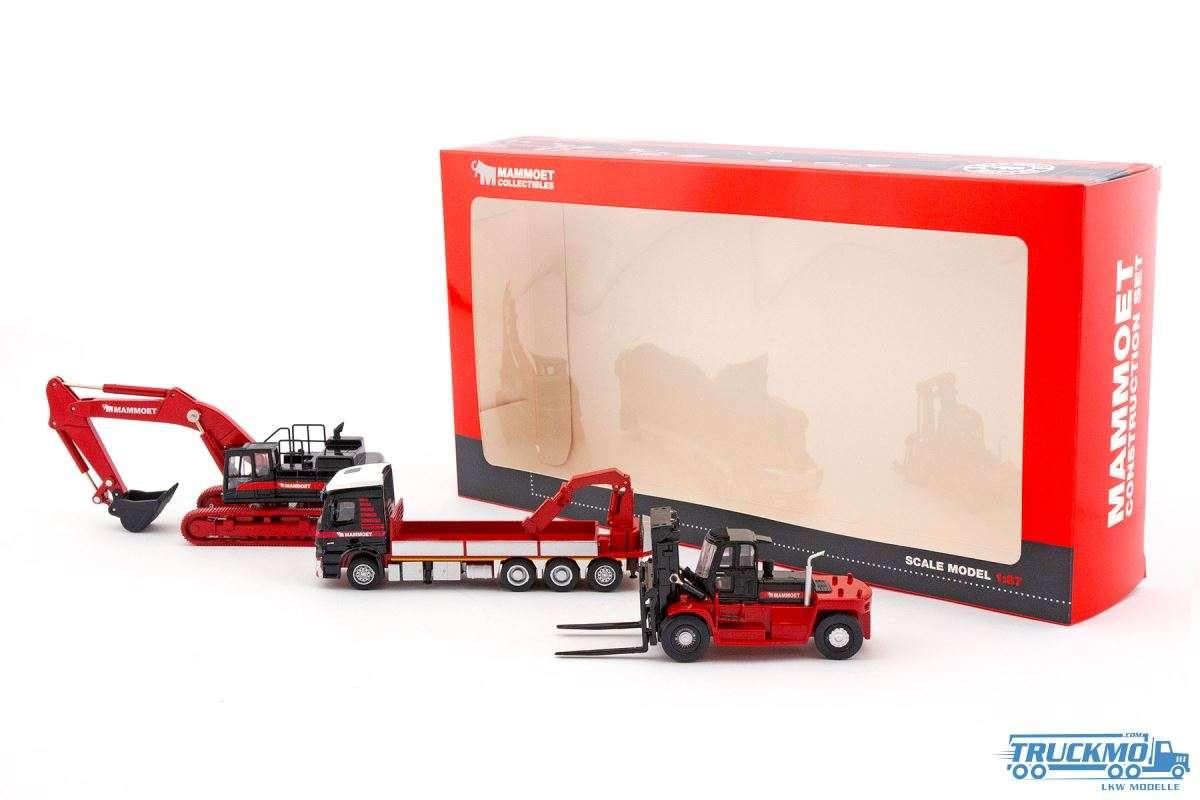 IMC Models Mammoet Baumaschinen Set Hyundai Bagger / Hunday Gabelstapler / Mercedes Benz 410106