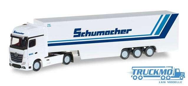 Herpa Schumacher Spedition LKW Modell Mercedes-Benz Actros Gigaspace Koffer-Sattelzug 066501 1:160