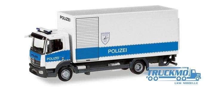 Herpa Polizei Hamburg Entschärfer Mercedes-Benz Atego Koffer-LKW mit Ladebordwand 093538
