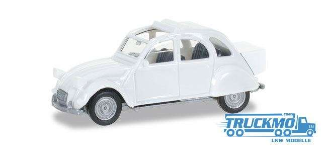Herpa Citroen 2 CV mit Queue perlweiß 027632-003