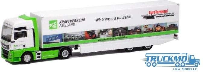 Herpa Kraftverkehr Emsland LKW Modell MAN TGX XXL Koffer-Sattelzug 923651