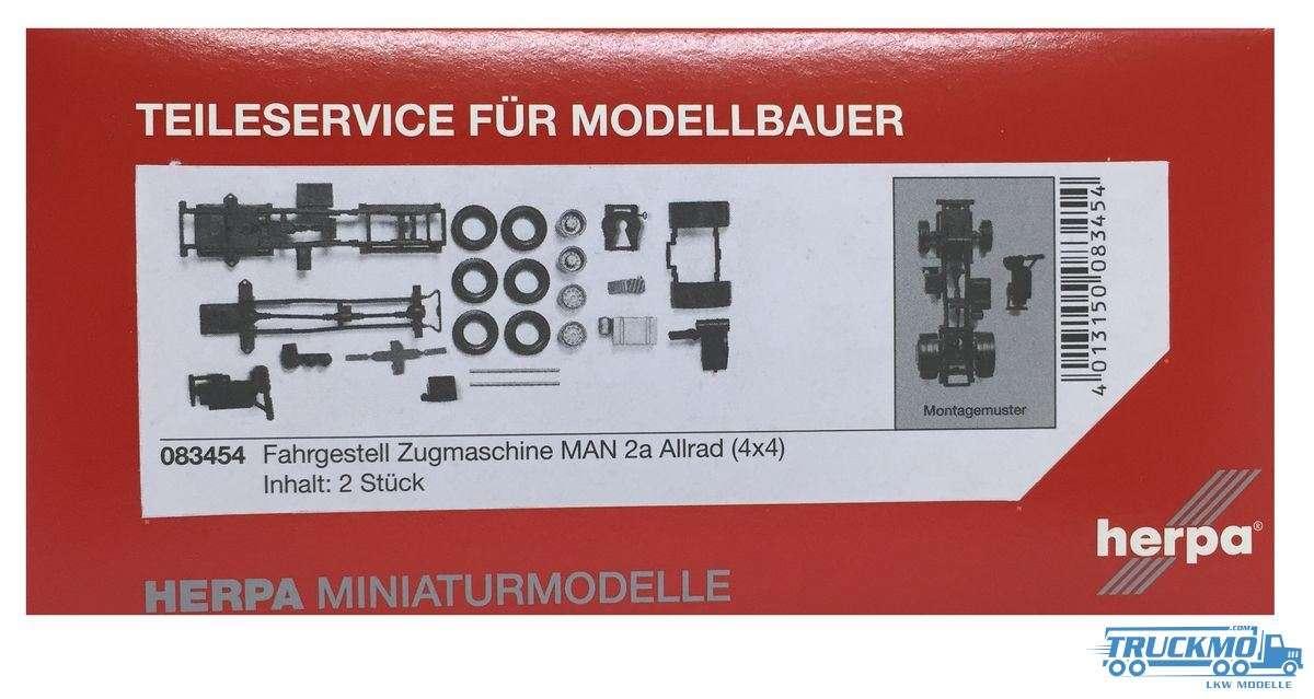 Herpa Zugmaschinen-Fahrgestell LKW Modell MAN 2-achs Allrad Inhalt: 2 Stück 083454