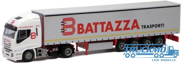 AWM Battazza Iveco Stralis II Aerop. Gardinenplanensattelzug LKW Modell