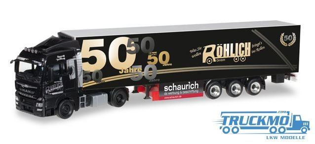 Herpa 50 Jahre Spedition Röhlich Lkw MAN TGX XLX Euro 6 Kühlkoffer-Sattelzug Modell