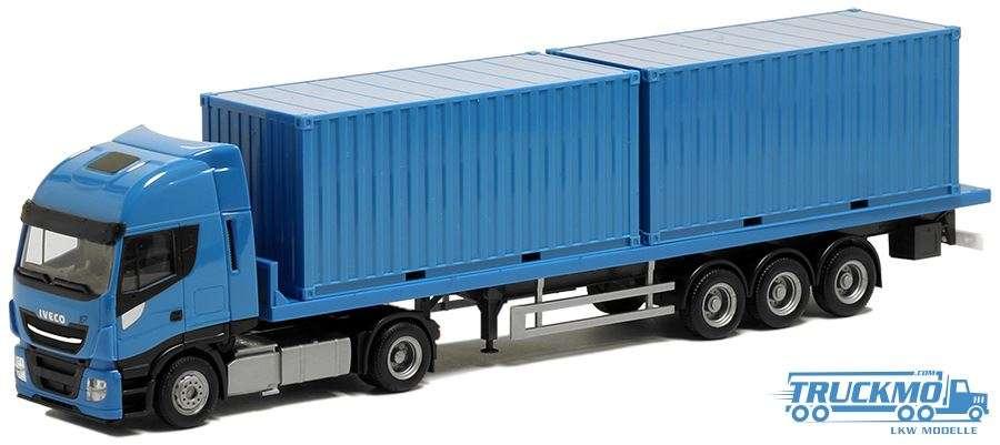 Herpa Iveco Stralis XL Flachbett-Sattelzug mit 2x20ft. Container hellblau Chassis schwarz BM936491