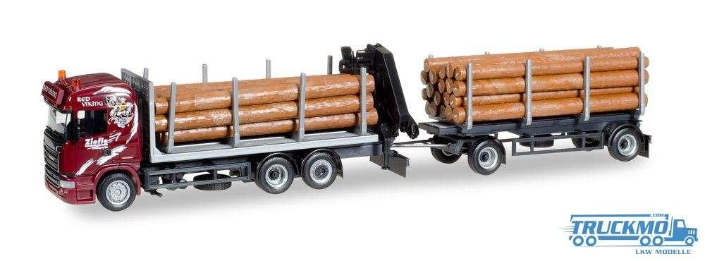 Herpa Ziefle Transporte LKW Modell Scania R HL Holztransporter-Hängerzug 307840