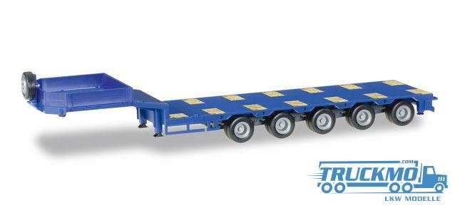 Herpa Goldhofer Semitiefladeauflieger 5-achs mit beiliegenden Rampen ultramarinblau 076388-006