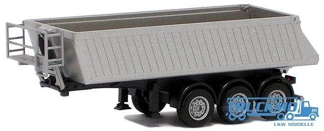 Herpa Schmitz KippAuflieger 3achs (silber lackiert, Chassis schwarz) 670301