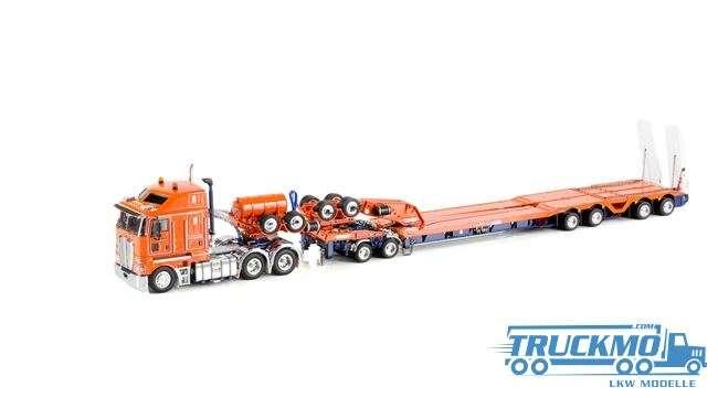 Drake LKW-Modell Kenworth K200 2x8 Dolly und 4x8 dragline bucket trailer orange