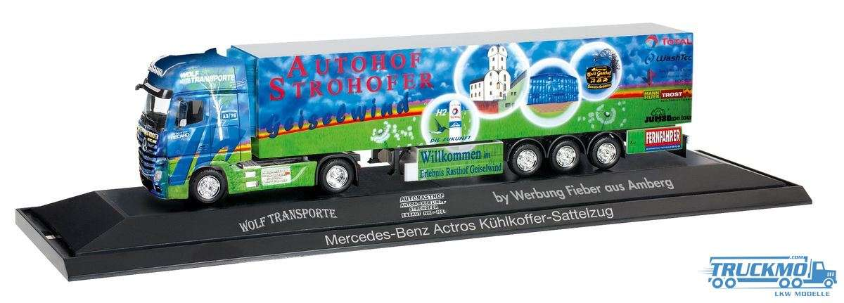 Herpa Wolf Transporte Autohof Strohofer Geiselwind Mercedes-Benz Actros Kühlkoffer-Sattelzug