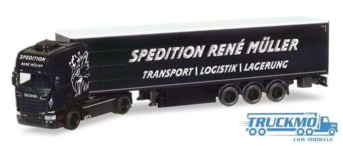 Herpa René Müller Transporte Scania R TL Gardinenplanen-Sattelzug 308748