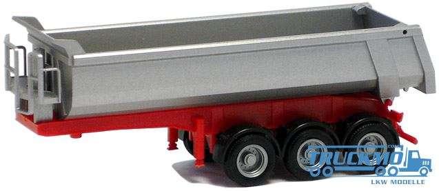 Herpa Carnehl Rundmulden Auflieger (Mulde silber lackiert, Chassis rot) 670160