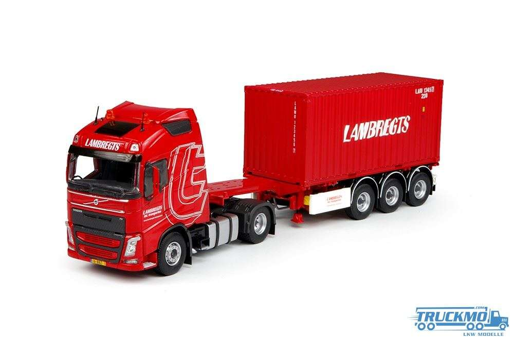 Tekno Lambregts LKW Modell Volvo FH04 Globetrotter 20ft Container mit Chassis 69589