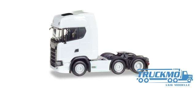 Herpa LKW Modell Scania CR 20 HD 6x2 Zugmaschine weiß 307543