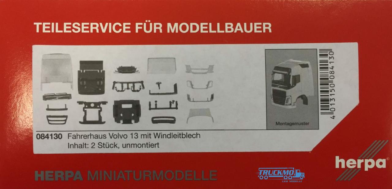 Herpa Volvo FH GL Fahrerhaus mit Windleitblech und Dachspoiler Inhalt: 2 Stück LKW Modelle