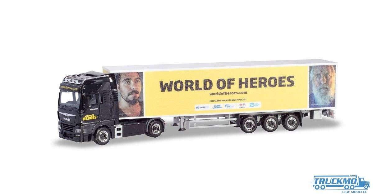 Herpa World of Heroes MAN TGX XXL Koffer-Sattelzug 937702