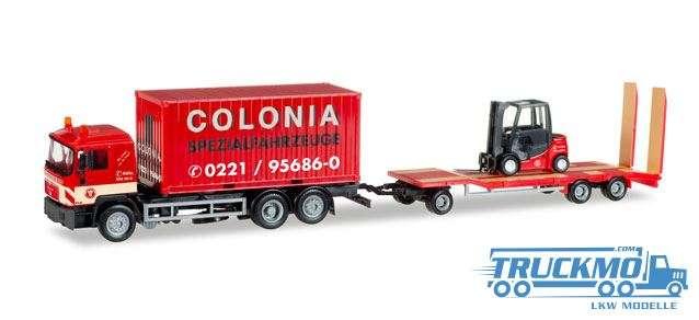 Herpa Colonia MAN F 90 Container-LKW mit Goldhofer TU3 und Gabelstapler 308182