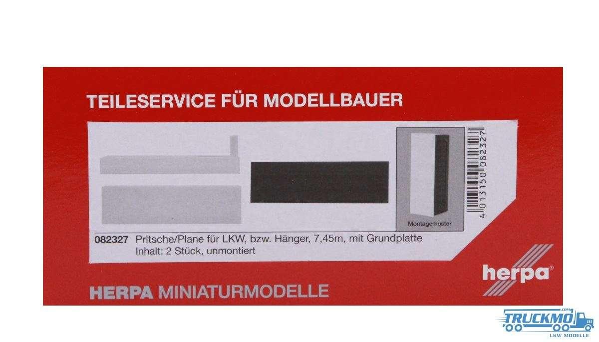 Herpa Pritsche/Plane mit Grundplatte (7,45m) Inhalt: 2 Stück 082327