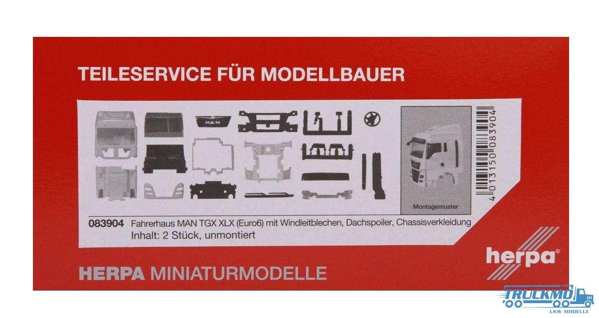 Herpa Fahrerhaus MAN TGX XLX Euro 6 mit WLB & Dachspoiler Inhalt: 2 Stück LKW-Modell