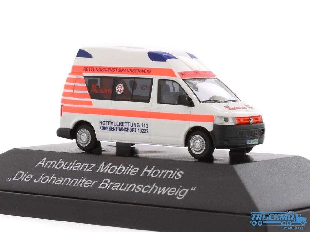 Rietze Die Johanniter Braunschweig Volkswagen Ambulanz Mobile Hornis Silver 53408
