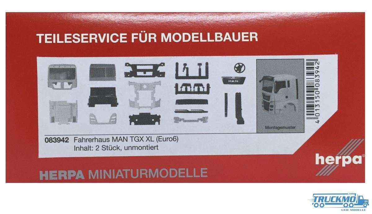 Herpa Fahrerhaus LKW Modell MAN TGX XL Euro 6 ohne WLB & Dachspoiler Inhalt: 2 Stück 083942