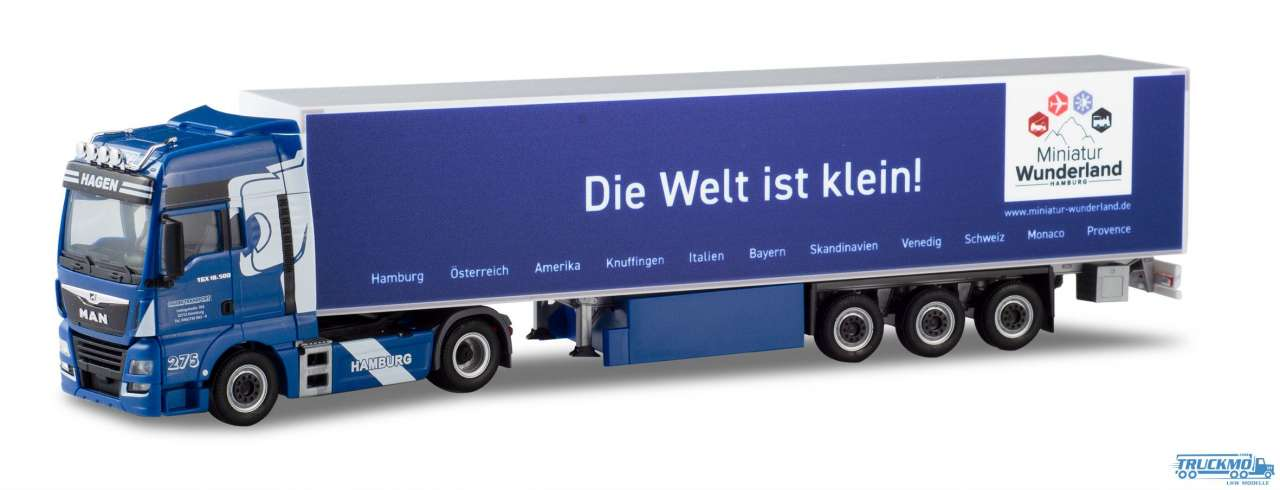 Herpa Hagen Die Welt ist klein MAN TGX XXL Euro 6c Koffer-Sattelzug 936392