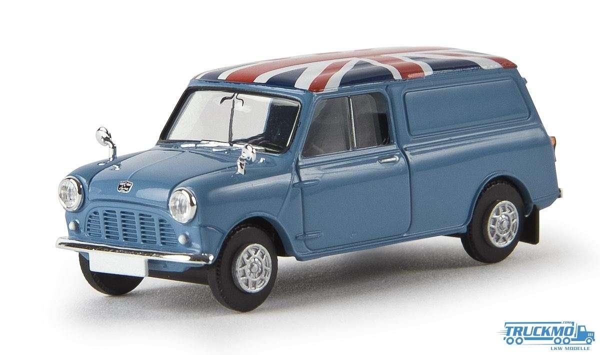 Brekina Union Jack Austin Mini Van lichtblau 15361